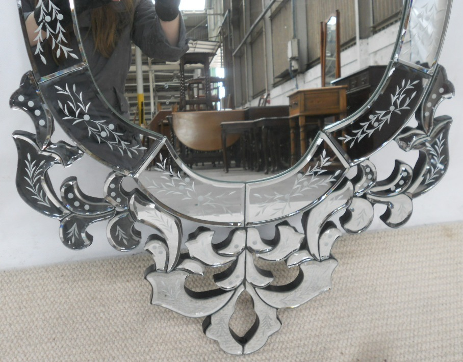 Large Venetian Style Ornate Hanging Wall Mirror